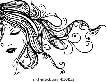 Hand-drawn fashion female portrait, woman with long flowing hair