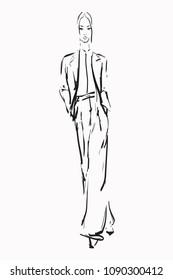 Hand-drawn fashion illustration. Stylish beautiful girl, sketch. Vector