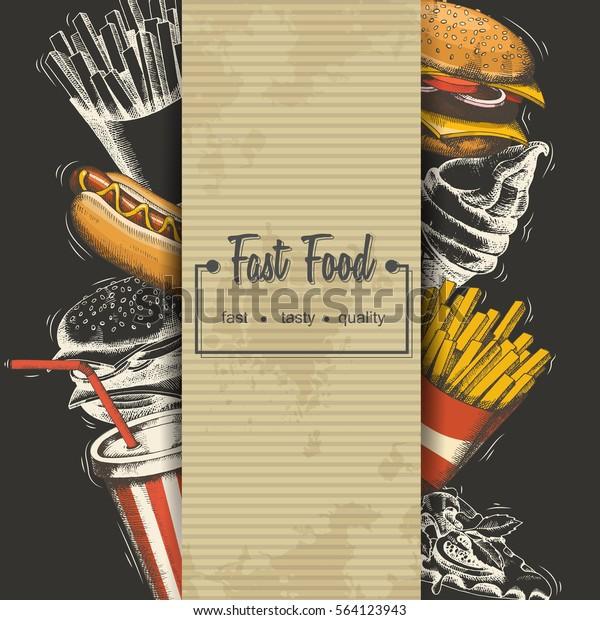 Handdrawn Fast Food Menu Background Stock Vector