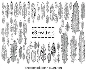 Hand-drawn feather collection. Vector black and white soft feather illustration set.