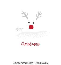 Hand-drawn festive Christmas and New Year card with holiday symbols deer, reindeer and calligraphic greeting inscription. Vintage style, ink brush sketch.