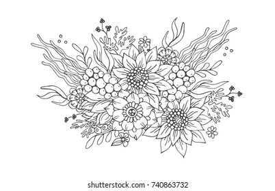 Hand-drawn flower composition. Coloring page - zendala, design for spiritual relaxation for adults, vector illustration, isolated on a white background. Zen doodles.