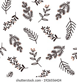 Hand-drawn flowers seamless vector pattern on a white background.