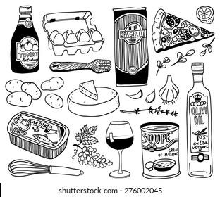 hand-drawn food doodles