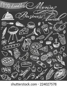 hand-drawn food doodles on chalkboard