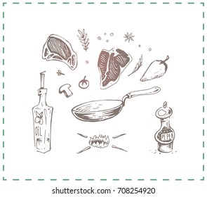 Hand-drawn food - fried steak with pepper and olive oil in a frying pan. Isolated vintage vector for design napkins and posters in a cafe and illustration in a book of culinary recipes
