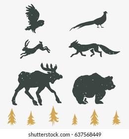 Hand-drawn forest silhouettes animals:elk, fox, hare, bear, owl, pheasant