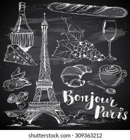 hand-drawn french food on chalkboard