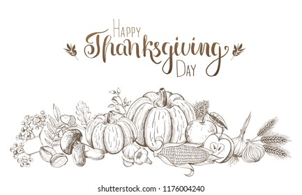 Hand-drawn fruits and vegetables. Thanksgiving and harvest festival. Engraved style.