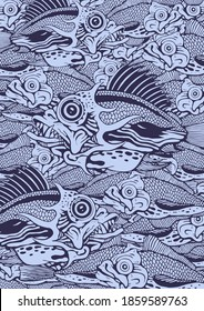 Hand-drawn funny fish. Decorative background with the deep sea. Vector illustration