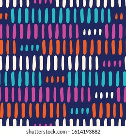 Hand-Drawn Geo Organic Neon Lines and Stripes Vector Seamless Pattern. Modern Colorful Abstract Geometric Background. Whimsical Geometric Print with Uneven Shapes. Minimalist Print for Fashion, Home D