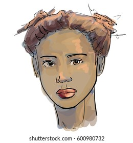 Hand-drawn graphics fashion portrait with beautiful young african american woman, inviting girl. For your design logo, brochures, booklets, on business cards, in beauty salons. Vector, sketch style