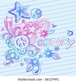 Hand-Drawn Groovy Sketchy Doodles on Lined Notebook Paper Vector