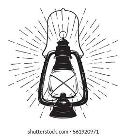 Hand-drawn grunge sketch vintage oil lantern or kerosene lamp with rays of light. Vector illustration. T-shirt print or poster design.