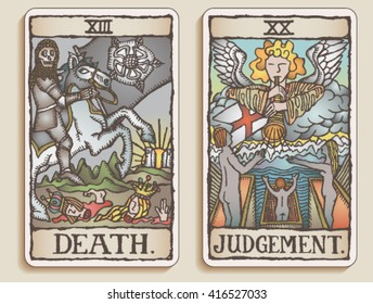 Hand-drawn, grungy, textured Tarot cards depicting the concept of Death and Judgement.