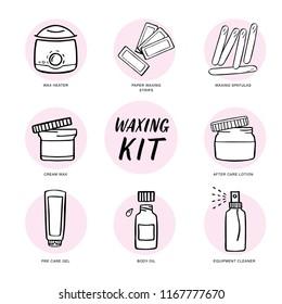 Handdrawn hair removal icons set. Waxing kit