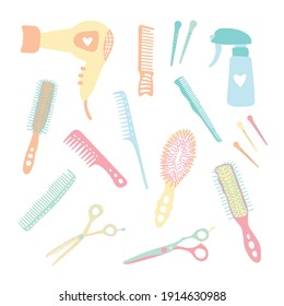 Hand-drawn hairdressing items, tools, scissors, comb, pulverizer, clip. Vector set of accessories for a beauty salon isolated on white. Cute, stylish, trendy, kids, cartoon. Hair cutting and styling