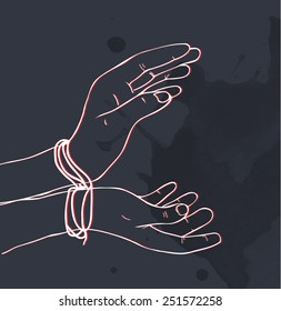 Hand-drawn hands in handcuffs, watercolor splash