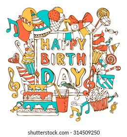 Hand Drawn Happy Birthday Card Colourful Gift Boxes Garlands And Balloons Music