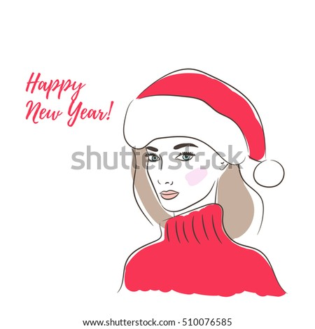 Handdrawn Happy New Year Greeting Card Stock Vector Royalty Free