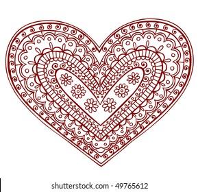 Hand-Drawn Heart Henna (mehndi) Paisley Doodle Vector Illustration Design Element