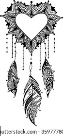 Hand-drawn heart mandala dreamcatcher with feathers. Ethnic illustration, tribal, American Indians traditional symbol.