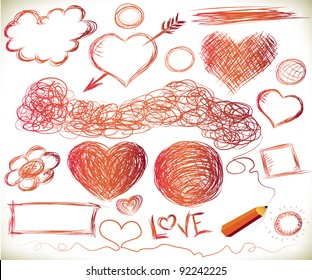 Hand-drawn hearts, and other doodled elements with a pencil