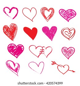Hand-drawn  hearts for Valentines Day design. Vector Sketch hearts