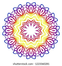 Hand-Drawn Henna Ethnic Mandala. Circle lace ornament. Vector illustration. for coloring book, greeting card, invitation, tattoo. Anti-stress therapy pattern.