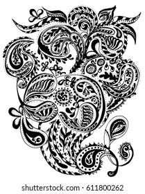 Handdrawn Henna Mehendi Abstract Mandala Flowers and Paisley Doodle. Illustration Design Elements