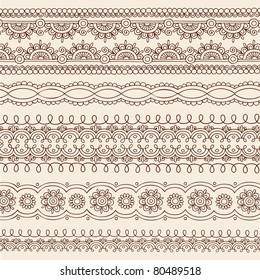 Hand-Drawn Henna Mehndi Tattoo Flower and Paisley Border Doodle Vector Illustration Design Elements