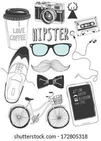 hand-drawn hipster accessories