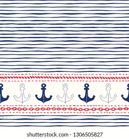 Hand-Drawn Horizontal Border with Ropes, Chains and Anchors Vector Seamless Pattern. Red, White, Blue Marine Background