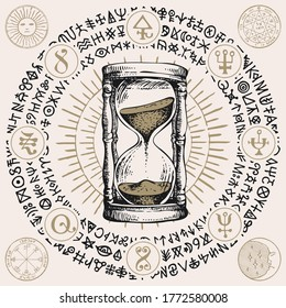 Hand-drawn hourglass with running sand inside in vintage style. Time and caducity of life concept. Vector banner with a sand clock, esoteric and magic symbols written in a circle. Glass timer.