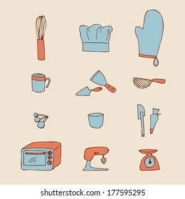Hand-drawn icon of kitchen tool for baking