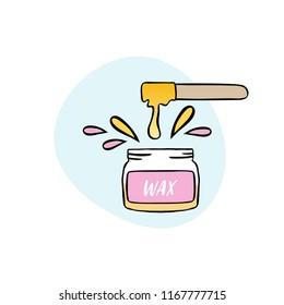 Handdrawn illustration of cosmetic wax in jar with waxing spatula