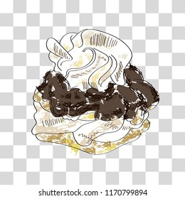 Hand-drawn illustration of Dutch pastry with puff cake, chocolate and whipped cream on a transparent background.