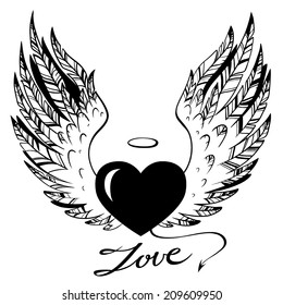 hand-drawn illustration of heart with angel wings