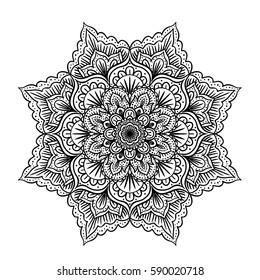 Hand-drawn illustration of indian mandala isolated on white