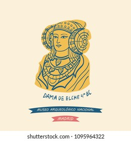 Hand-drawn illustration of The Lady of Elche as symbol of The National Archaeological Museum (Museo Arqueológico Nacional) located in central Madrid, Spain