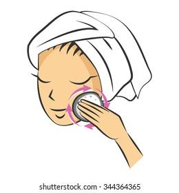 Hand-drawn illustration. Massage Cosmetic Sponge for washing face