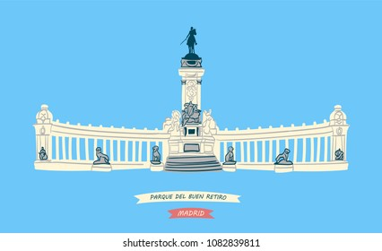 Hand-drawn illustration of Monument to King Alfonso XII, symbol of The Buen Retiro Park (Parque del Buen Retiro) located in central Madrid, Spain
