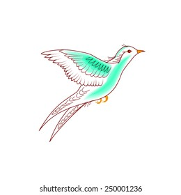 Hand-drawn illustration natural flying birds on white background