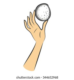 Hand-drawn illustration. Presentation Cosmetic Sponge for washing face
