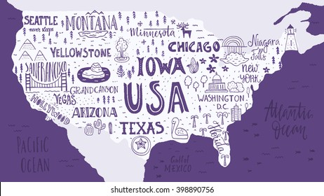 Map of United States with Names Stock Illustrations, Images ...