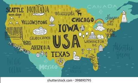 Handdrawn illustration of USA map with hand lettering names of states and tourist attractions. Travel to USA concept. American symbols on the map. Creative design element for tourist banner