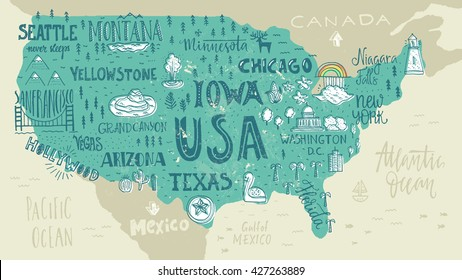 Hand-drawn illustration of USA map with hand lettering names of states and tourist attractions. Travel to USA concept. American symbols on the map.