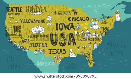 Handdrawn Illustration USA Map Hand Lettering Stock-Vrgrafik ... on