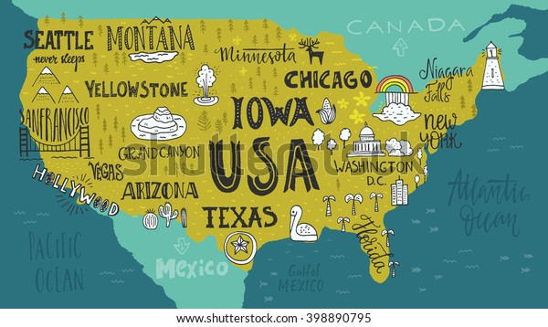 Handdrawn Illustration Usa Map Hand Lettering Stock ...