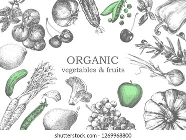 Hand-drawn illustration of vegetables and fruits. Vector